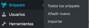 Añadir nuevo en code snippets